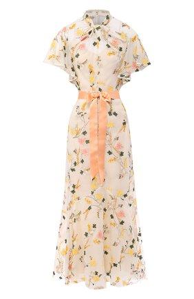 Шелковое платье с поясом и принтом | Фото №1