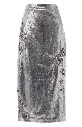 Юбка-миди с пайетками Erdem серебряная | Фото №1