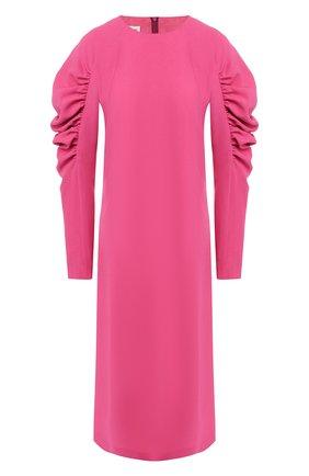 Платье-миди с объемными рукавами | Фото №1
