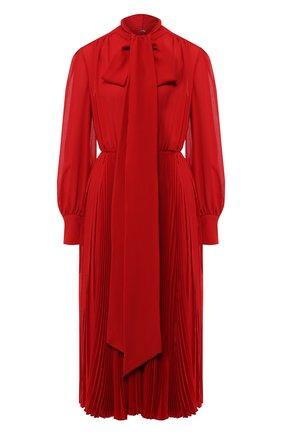 Шелковое платье-миди с воротником аскот | Фото №1