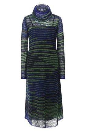 Вязаное платье-миди с высоким воротником   Фото №1