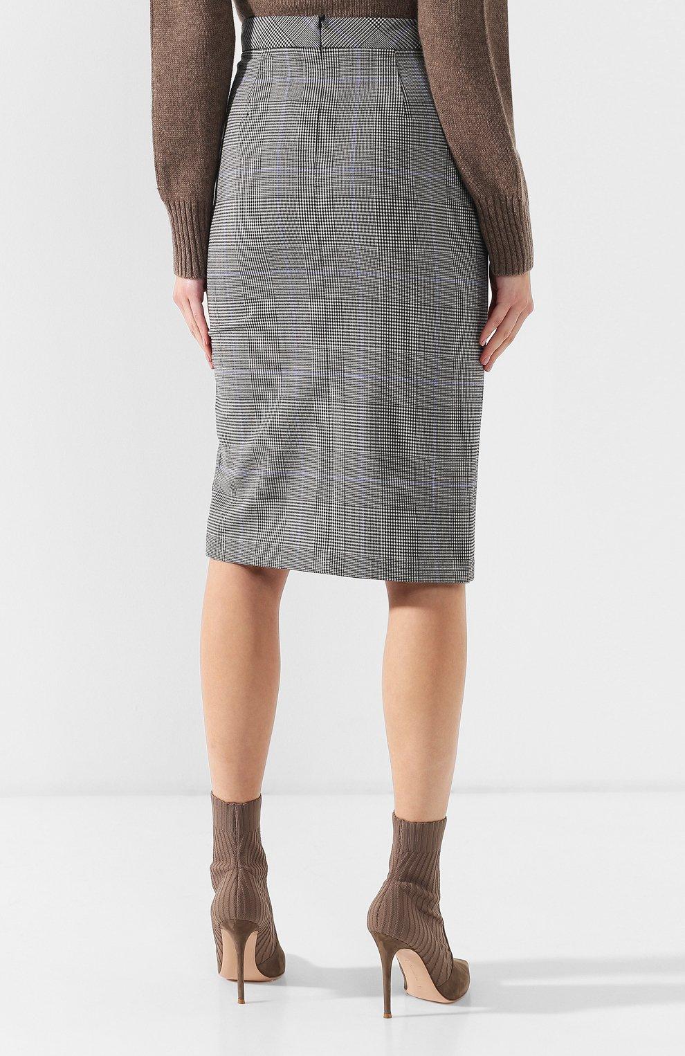 49feb535d0c Женская разноцветная шерстяная юбка-карандаш в клетку THEORY ...