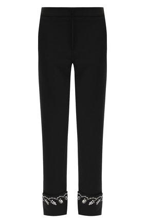 Шерстяные брюки с отворотами и декоративной отделкой | Фото №1