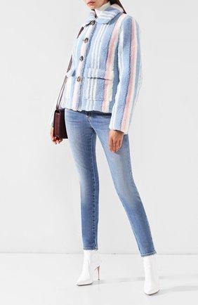 Женская укороченное пальто из овчины SAKS POTTS голубого цвета, арт. 18110 LUCY BLUE/R0SE JACKET   Фото 2