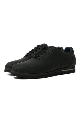 Мужские кожаные кроссовки на шнуровке с отделкой из кожи каймана ZILLI черного цвета, арт. T033/002/CCR0   Фото 1