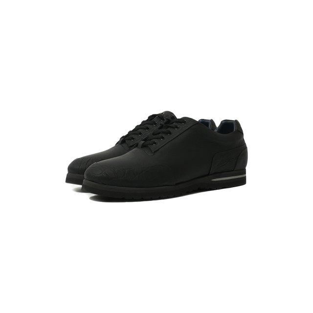 Кожаные кроссовки на шнуровке с отделкой из кожи каймана Zilli — Кожаные кроссовки на шнуровке с отделкой из кожи каймана