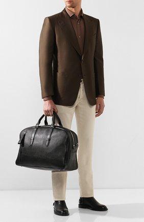 Мужская кожаная дорожная сумка TOM FORD черного цвета, арт. H0362P-G02 | Фото 2