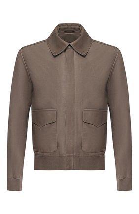 Мужская кожаная куртка на молнии с отложным воротником RALPH LAUREN светло-коричневого цвета, арт. 790716581 | Фото 1