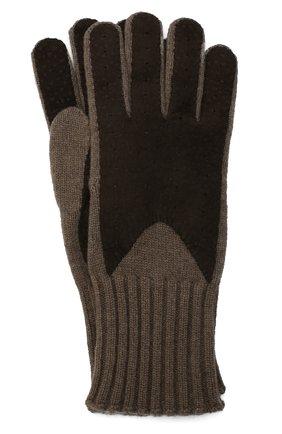 Мужские кашемировые перчатки с отделкой из кожи LORO PIANA коричневого цвета, арт. FAG4631 | Фото 1