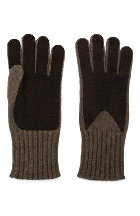 Мужские кашемировые перчатки с отделкой из кожи LORO PIANA коричневого цвета, арт. FAG4631 | Фото 2
