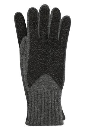 Кашемировые перчатки с отделкой из кожи | Фото №1