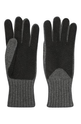 Кашемировые перчатки с отделкой из кожи | Фото №2