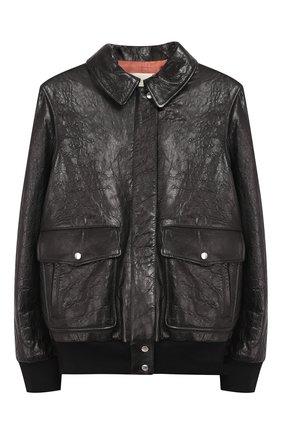 Кожаная куртка с вышивкой на спине | Фото №1