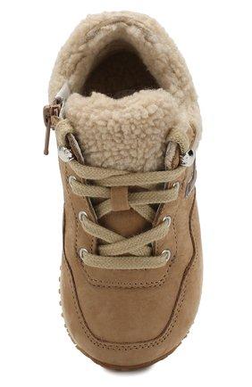 Замшевые кроссовки с меховой отделкой   Фото №4