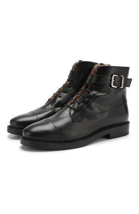 Женские кожаные ботинки с внутренней отделкой из овчины TOD'S черного цвета, арт. XXW0ZP0T634G0C | Фото 1
