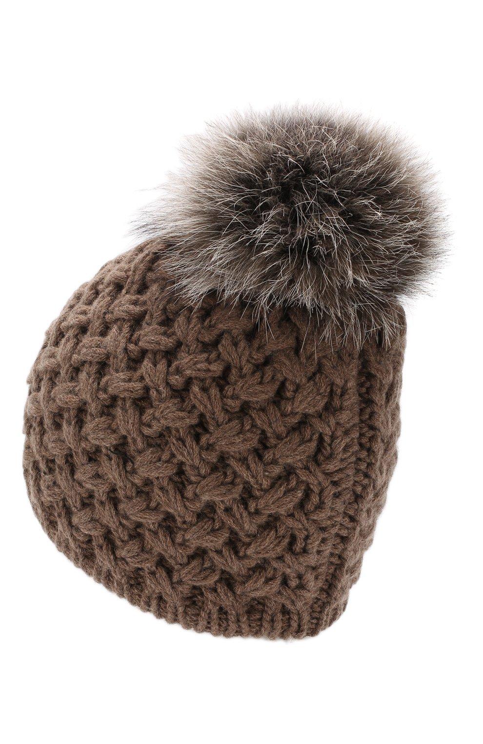 Кашемировая шапка с меховым помпоном Inverni коричневого цвета | Фото №2