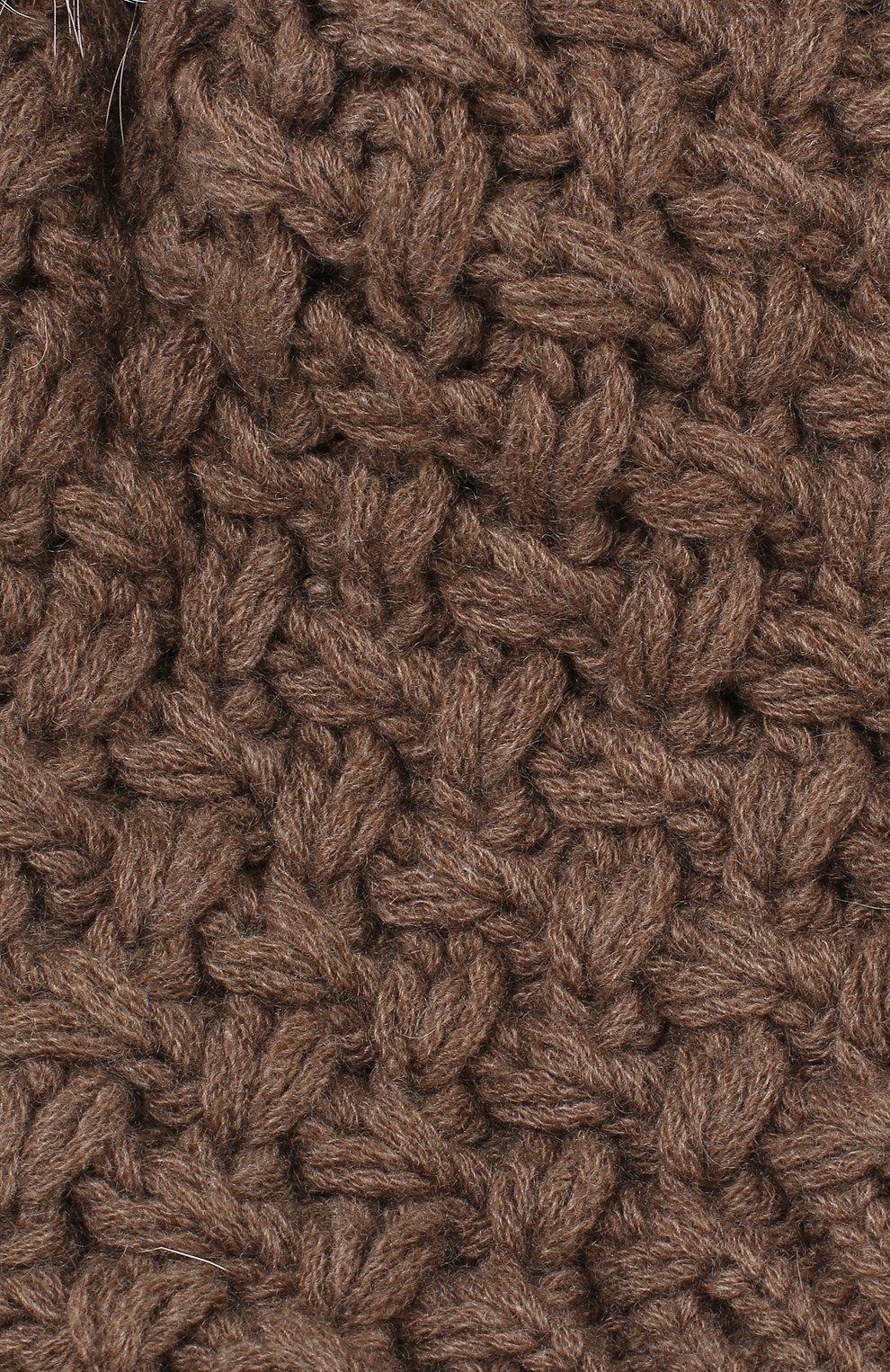 Кашемировая шапка с меховым помпоном Inverni коричневого цвета | Фото №3