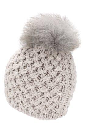 Кашемировая шапка с меховым помпоном Inverni светло-серого цвета   Фото №2