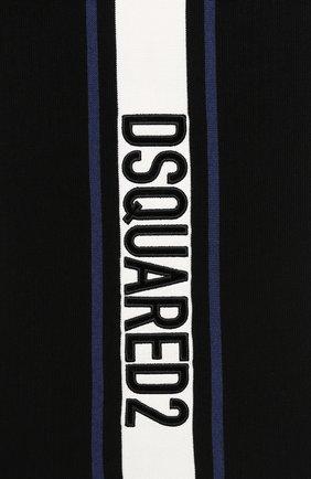 Шарф из смеси шерсти и вискозы Dsquared2 черно-белый | Фото №2