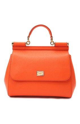 Женская сумка sicily medium DOLCE & GABBANA оранжевого цвета, арт. 0116/BB6002/A1001 | Фото 1 (Материал: Натуральная кожа; Ремень/цепочка: На ремешке; Статус проверки: Проверено, Проверена категория; Сумки-технические: Сумки top-handle; Размер: medium)