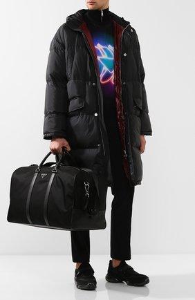 Мужская текстильная дорожная сумка с плечевым ремнем PRADA черного цвета, арт. 2VC013-64-F0002-SOO | Фото 2