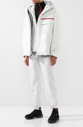 Мужская куртка на молнии prada linea rossa PRADA белого цвета, арт. SGN921-1SX6-F0K74 | Фото 2