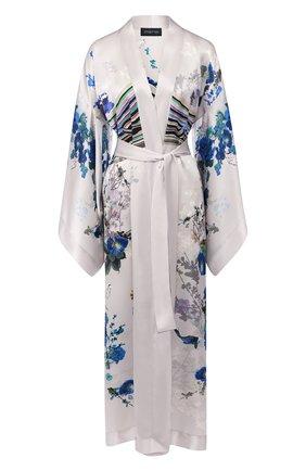 Шелковый халат с поясом и принтом | Фото №1