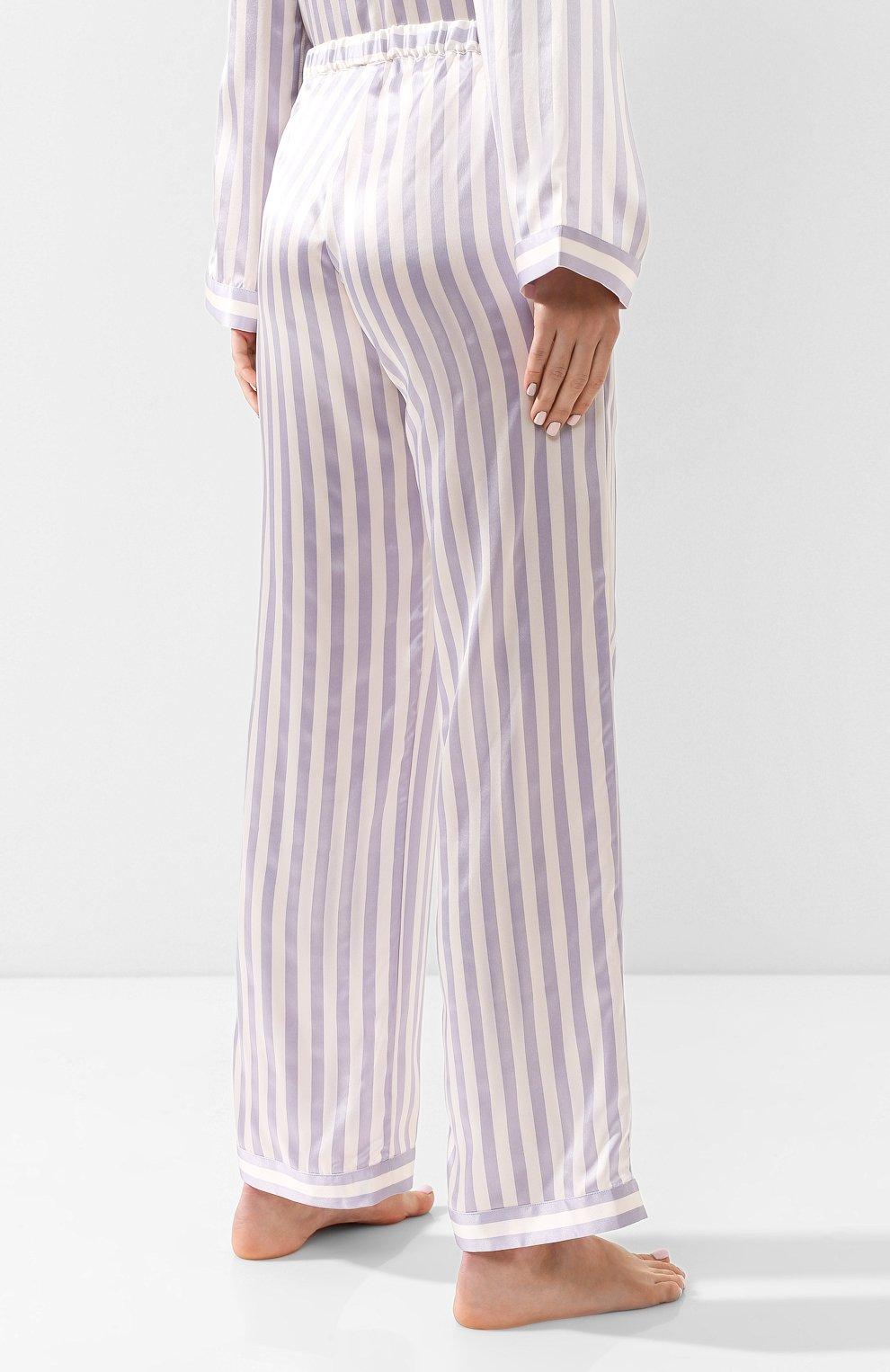 a7b140e1 Женские сиреневые домашние шелковые брюки в полоску MORGAN LANE ...