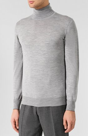 Водолазка из смеси шерсти и кашемира Brunello Cucinelli светло-серый   Фото №3