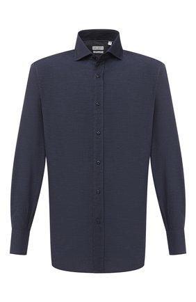 Мужская хлопковая рубашка BRUNELLO CUCINELLI темно-синего цвета, арт. MG6710028 | Фото 1