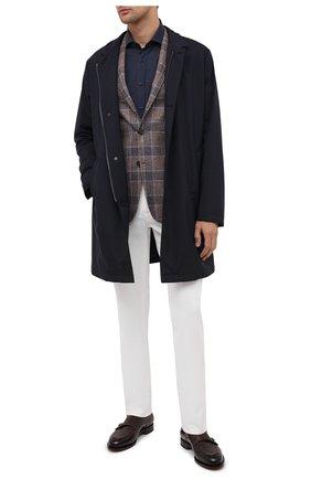 Мужская хлопковая рубашка BRUNELLO CUCINELLI темно-синего цвета, арт. MG6710028 | Фото 2