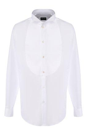 Мужская хлопковая сорочка под смокинг GIORGIO ARMANI белого цвета, арт. 8WGCCZS1/TZ201 | Фото 1