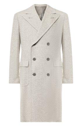 Двубортное пальто из смеси шерсти и шелка | Фото №1
