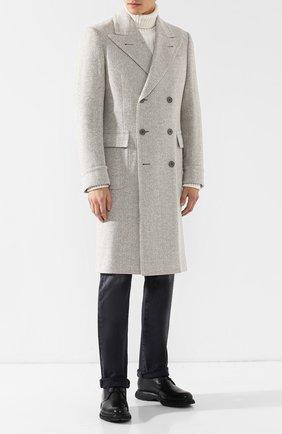 Двубортное пальто из смеси шерсти и шелка | Фото №2