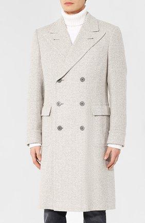 Двубортное пальто из смеси шерсти и шелка | Фото №3