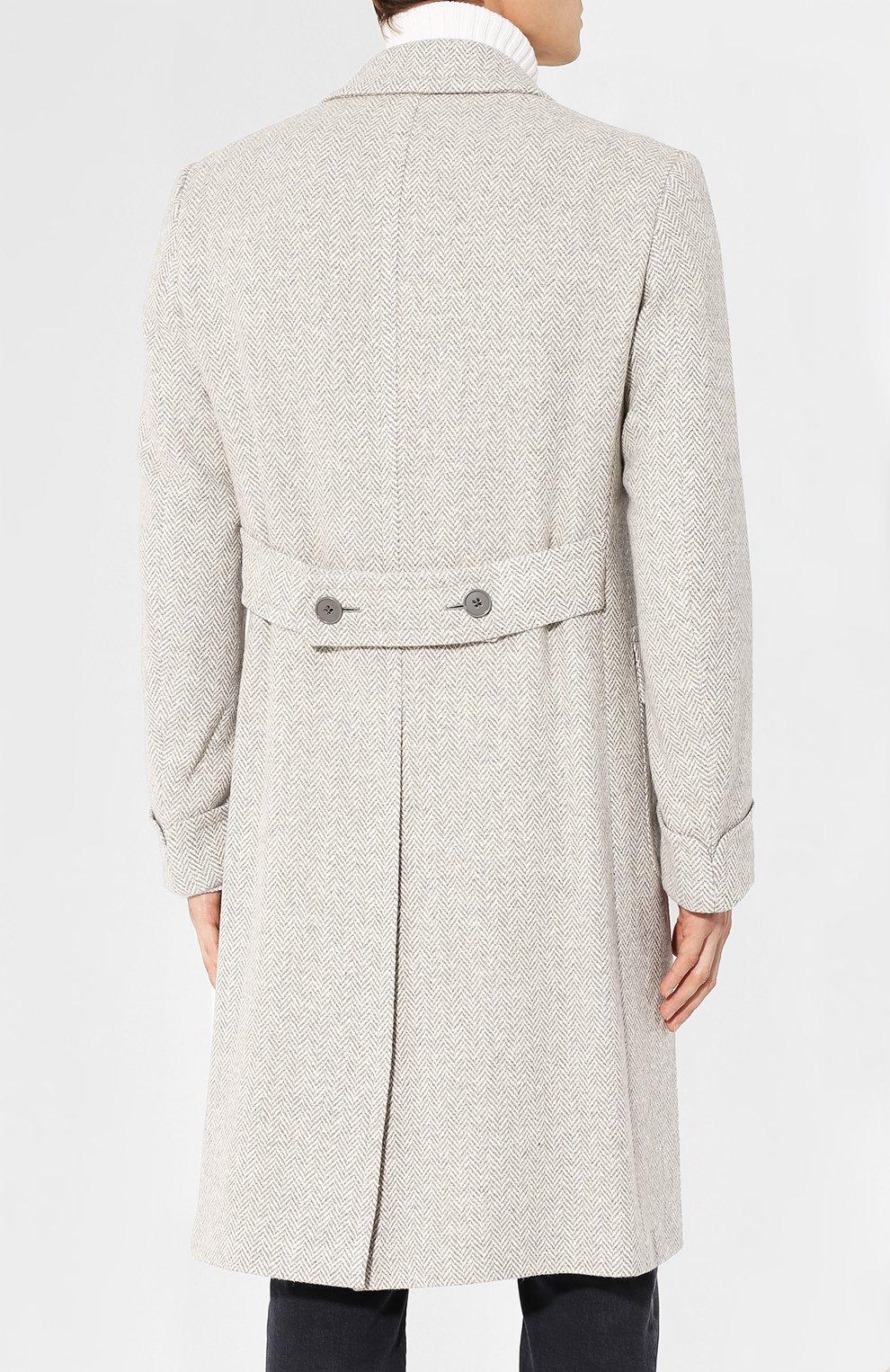 Двубортное пальто из смеси шерсти и шелка | Фото №4
