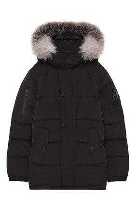 Куртка с меховой отделкой на капюшоне | Фото №1
