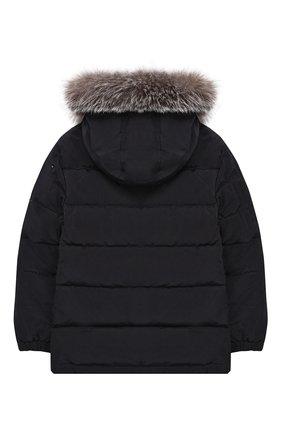 Куртка с меховой отделкой на капюшоне | Фото №2