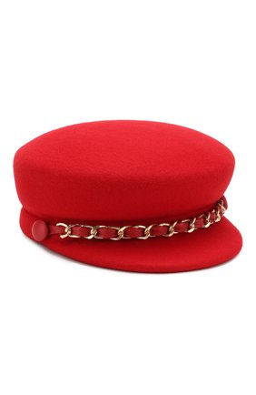 Фетровое кепи с декоративной цепью Eugenia Kim красного цвета | Фото №1