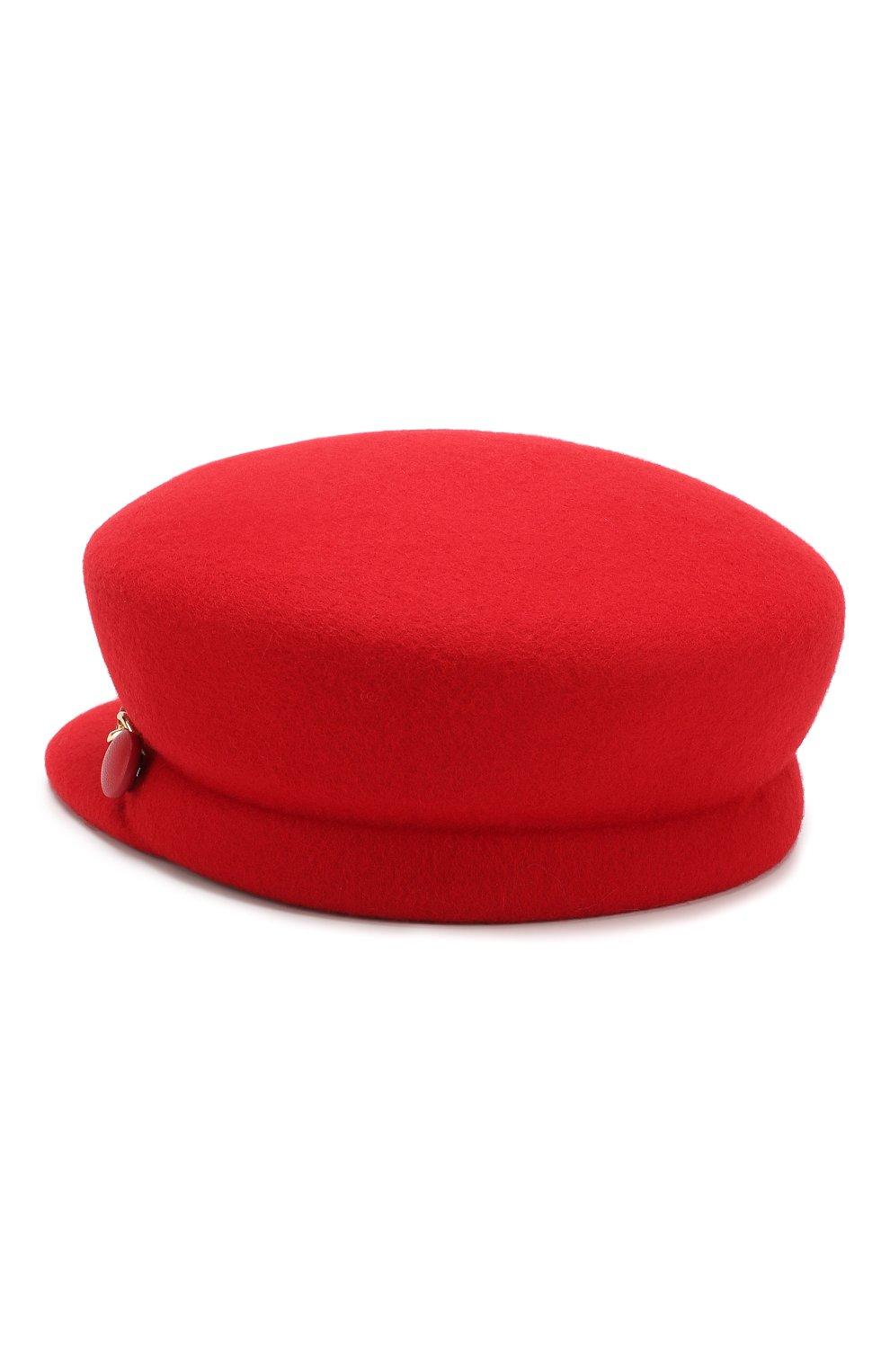 Фетровое кепи с декоративной цепью Eugenia Kim красного цвета | Фото №2