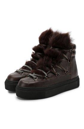 Высокие кожаные ботинки с меховой отделкой | Фото №1