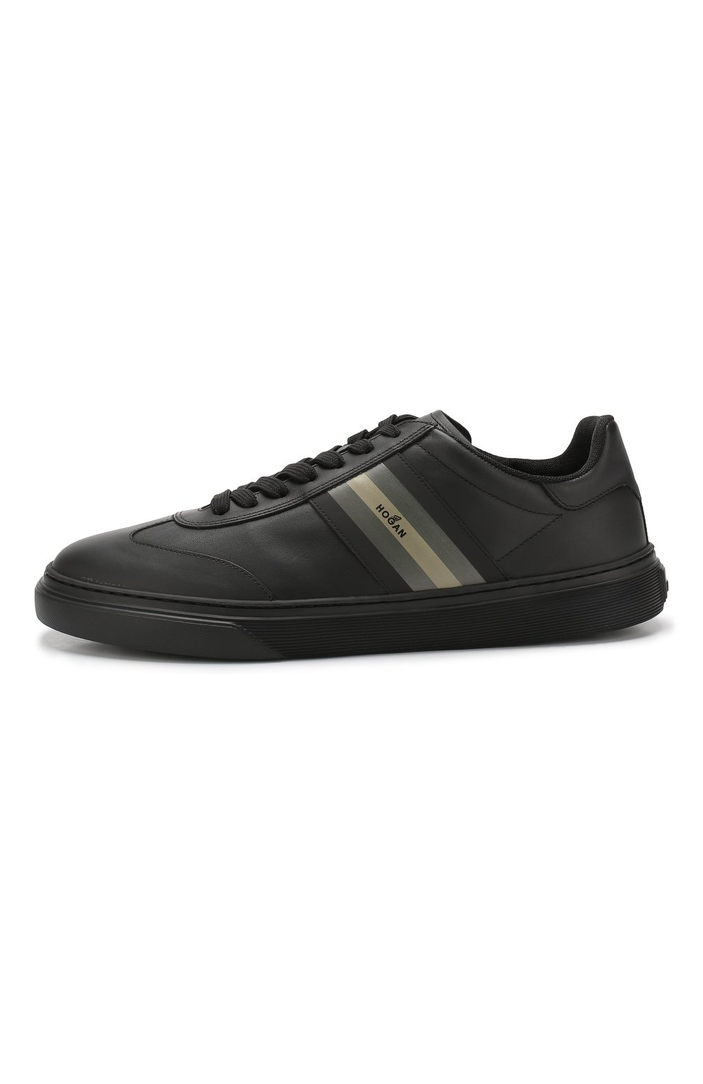 Кожаные кеды на шнуровке Hogan черные | Фото №3