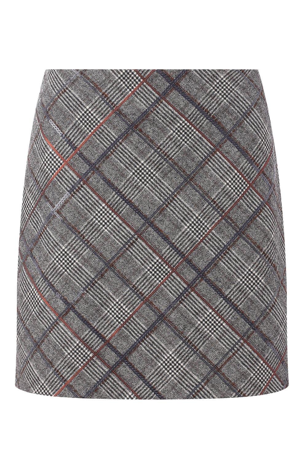 Женская шерстяная мини-юбка в клетку BRUNELLO CUCINELLI серого цвета, арт. MA598G2745   Фото 1