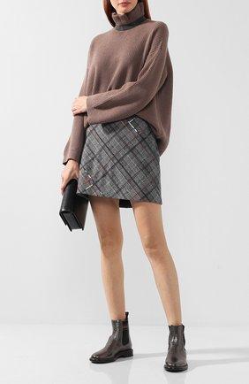 Женская шерстяная мини-юбка в клетку BRUNELLO CUCINELLI серого цвета, арт. MA598G2745   Фото 2