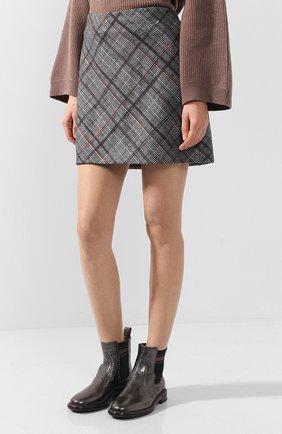 Женская шерстяная мини-юбка в клетку BRUNELLO CUCINELLI серого цвета, арт. MA598G2745   Фото 3