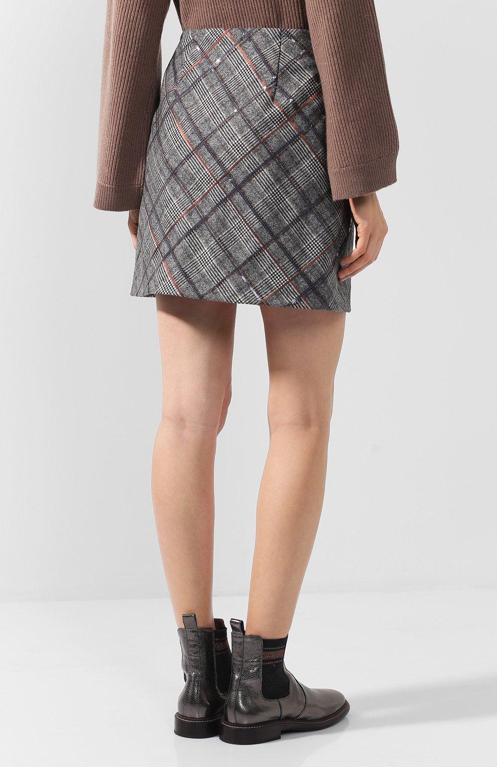 Женская шерстяная мини-юбка в клетку BRUNELLO CUCINELLI серого цвета, арт. MA598G2745   Фото 4