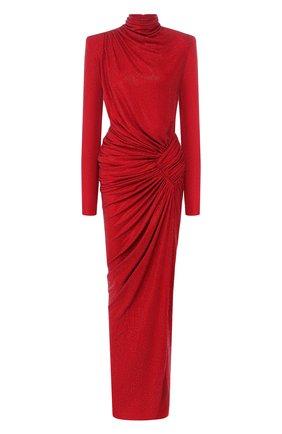 Платье-макси с драпировкой и высоким воротником | Фото №1