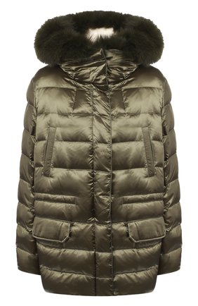 Стеганая куртка с капюшоном и подстежкой из меха кролика | Фото №1