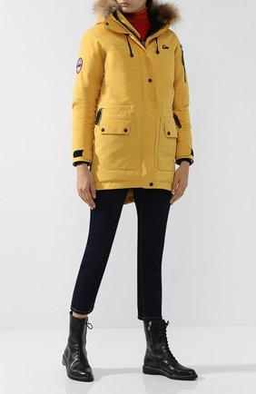Женская пуховая парка с меховой отделкой капюшона ARCTIC EXPLORER желтого цвета, арт. POLRS_YELLOW | Фото 2