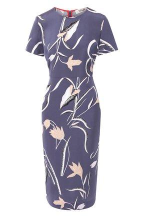 Приталенное платье-миди с завышенной талией и принтом | Фото №1